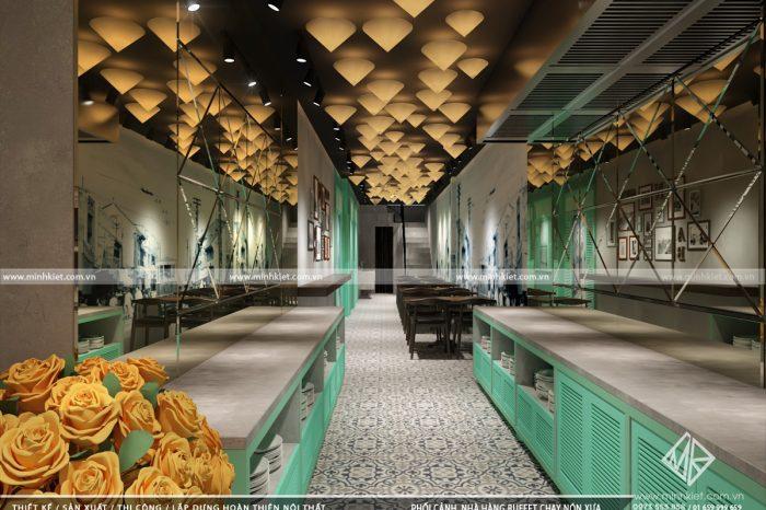 Thiết kế nhà hàng Buffet chay Nón Xưa - Xu hướng Hot năm 2020 - Thiết kế Minh Kiệt Cafe