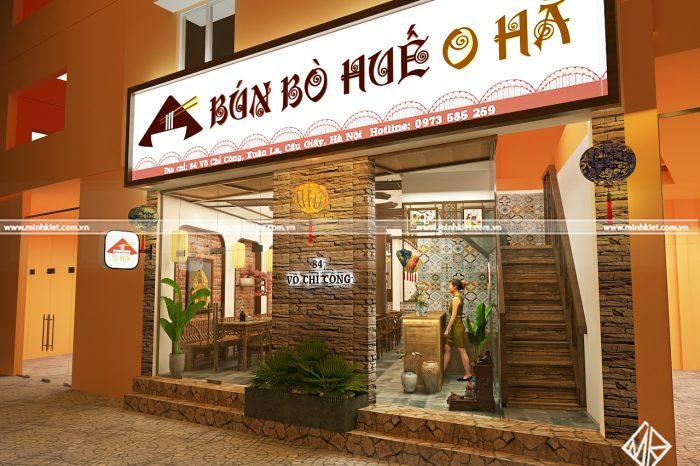 Thiết kế nhà hàng bún bò Huế O Hà đẳng cấp - Thiết kế Minh Kiệt Cafe